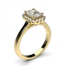 Radiant Yellow Gold Halo Engagement Rings