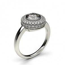 Bague de fiançailles halo diamant rond serti clos et pavé