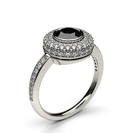 Buy Full Bezel Setting Side Stone Halo Black Diamond Ring Online UK