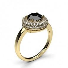 Rund Gelbgold Schwarzer Diamant Verlobungsringe