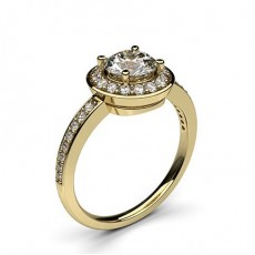 Round Yellow Gold Side Stone Diamond Engagement Rings