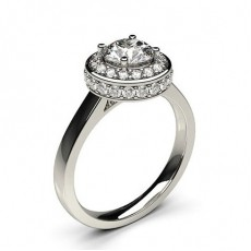 Round White Gold  Halo Diamond Engagement Rings