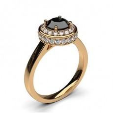 Rotgold Schwarzer Diamant Verlobungsringe