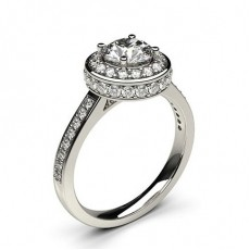 Round Platinum Halo Engagement Rings