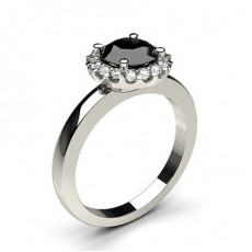 Round Platinum  Black Diamond Engagement Rings