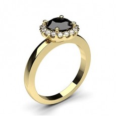 Round Yellow Gold Black Diamond Rings