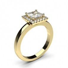 Princess Yellow Gold  Halo Diamond Engagement Rings