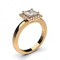Princess Rose Gold  Halo Engagement Rings