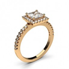 Princess Rose Gold Side Stone Diamond Rings