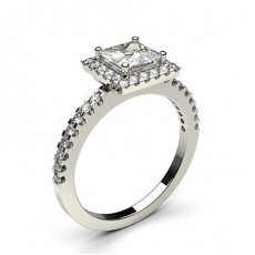Princess Platinum  Halo Diamond Engagement Rings