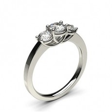 Round White Gold Trilogy Engagement Rings