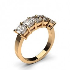 Emerald Rose Gold 5 Stone Diamond Rings