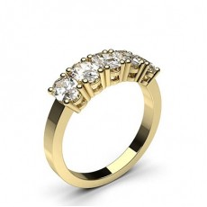 Oval Yellow Gold 5 Stone Diamond Rings