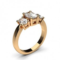 Oval Rotgold 3-Diamanten Diamantringe
