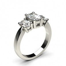 Oval Platinum 3 Stone Diamond Rings