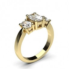 Oval Yellow Gold Trilogy Diamond Engagement Rings