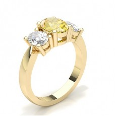 Oval Yellow Gold Trilogy Engagement Rings