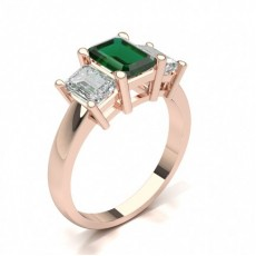 Emerald Rose Gold Trilogy Engagement Rings