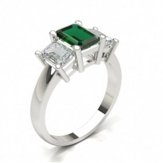 Emerald Platinum Trilogy Engagement Rings