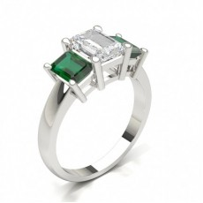 Emerald White Gold 3 Stone Diamond Rings