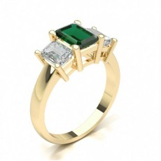 Emerald Yellow Gold Gemstone Diamond Engagement Rings