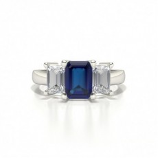 White Gold Emerald Three Stone Blue Sapphire Engagement Ring