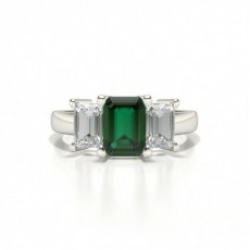 White Gold Emerald Three Stone Emerald Engagement Ring