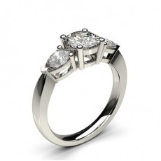 White Gold Round and Pear Trilogy Diamond Engagement Ring