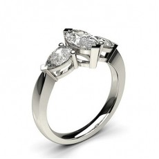 2 Prong Setting Studded Three stone Ring