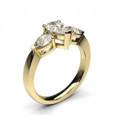 Pear Yellow Gold  Trilogy Diamond Engagement Rings