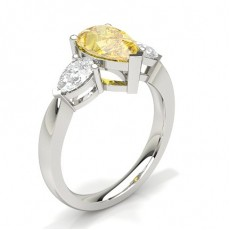 3 Prong Yellow Diamond Three Stone Engagement Ring