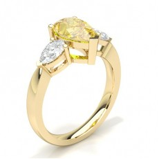 Pear Yellow Gold Trilogy Engagement Rings