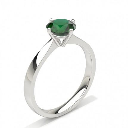 White Gold Round Emerald Engagement Ring
