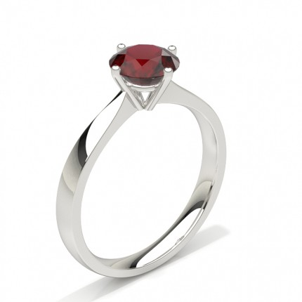 White Gold Round Ruby Engagement Ring