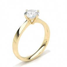 4 Prong Setting Round Diamond Plain Engagement Ring in 18K Yellow Gold