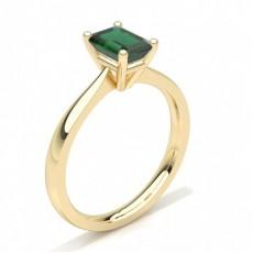Emerald Yellow Gold Gemstone Diamond Rings