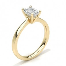 Emerald Yellow Gold Solitaire Engagement Rings