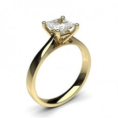 Princess Yellow Gold Diamond Engagement Rings