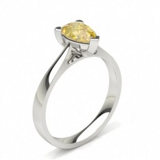 Pear White Gold Yellow Diamond Engagement Engagement Rings