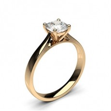 Cushion Rose Gold  Solitaire Diamond Engagement Rings