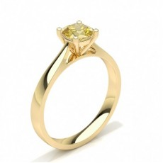 Cushion Yellow Gold Solitaire Diamond Rings