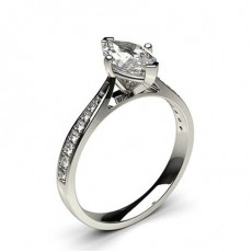 Marquise   Side Stone Diamond Engagement Rings