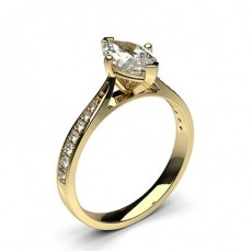 Marquise Yellow Gold Side Stone Diamond Rings