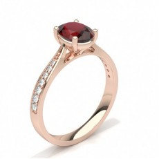 Oval Rose Gold Gemstone Engagement Rings