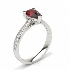 Pear Platinum Gemstone Diamond Rings