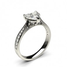 Heart  Side Stone Engagement Rings