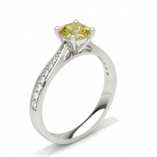 Cushion Yellow Diamond Engagement Engagement Rings