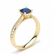Cushion Yellow Gold Gemstone Engagement Rings
