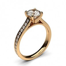 Rose Gold  Side Stone Engagement Rings