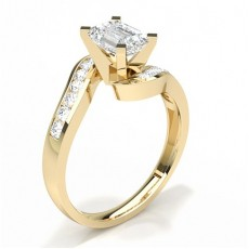 Emerald Yellow Gold Side Stone Diamond Rings